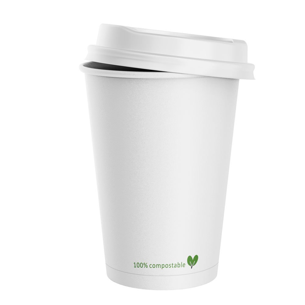 White Double Wall Compostable Hot Cups